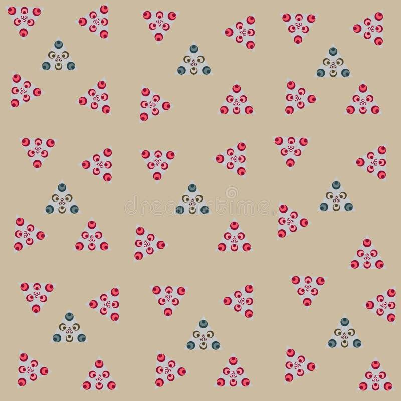 Ejemplo del fondo gris inconsútil del extracto y de los círculos coloreados en los triángulos para las tarjetas o las decoracione stock de ilustración