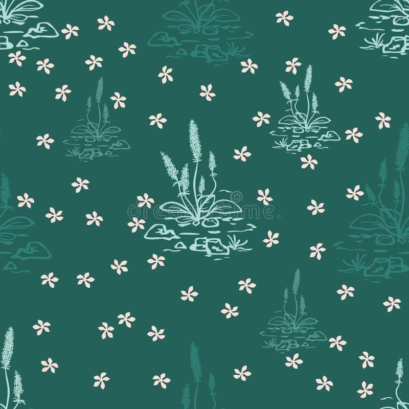 Ejemplo del fondo inconsútil con los elementos del diseño floral con las plantas, las ramas y las flores verdes, frescas, plantil stock de ilustración