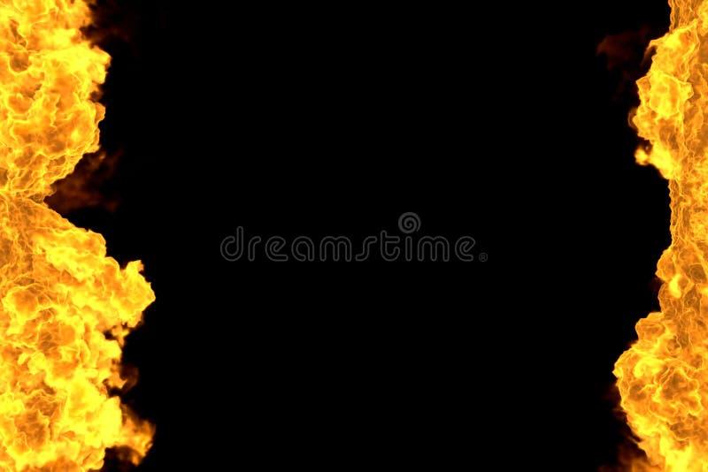 Ejemplo del fuego 3D del bastidor ardiente místico del infierno aislado en negro - el top y la parte inferior son líneas vacías,  ilustración del vector