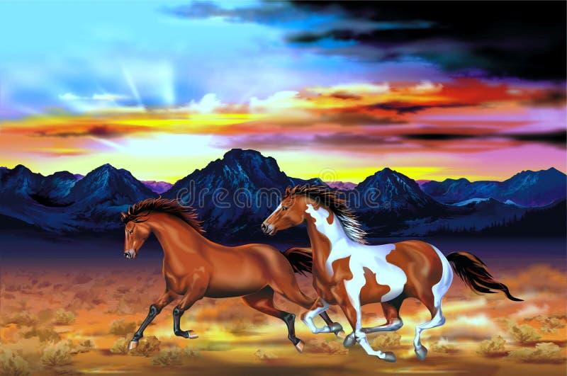 Ejemplo del funcionamiento de los caballos salvajes libre illustration