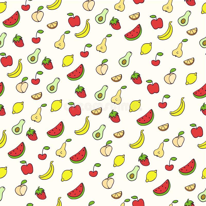 Ejemplo del garabato de frutas Modelo inconsútil con las frutas Dé el ejemplo exhausto del vector hecho en estilo de la historiet foto de archivo