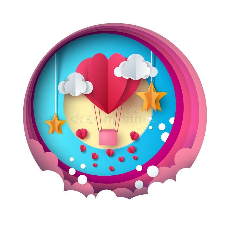 Ejemplo del globo del amor Día de la tarjeta del día de San Valentín s Nube, estrella, cielo stock de ilustración