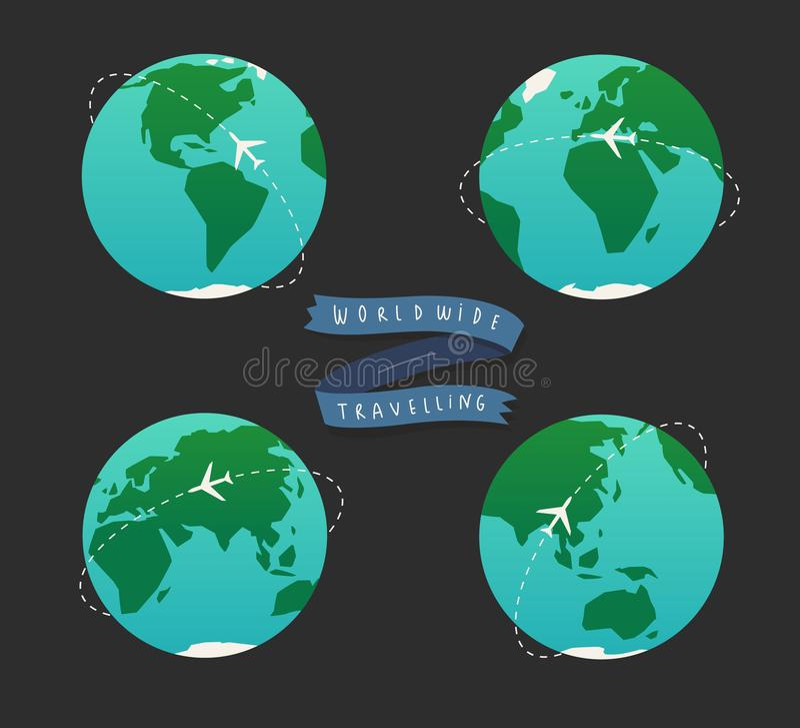 Ejemplo del globo de la tierra Sistema del mapa del mundo ilustración del vector