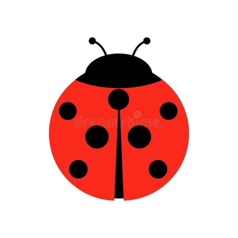 Ejemplo del gráfico de vector de la mariquita o de la mariquita, aislado Diseño plano simple lindo de escarabajo de señora negro  ilustración del vector