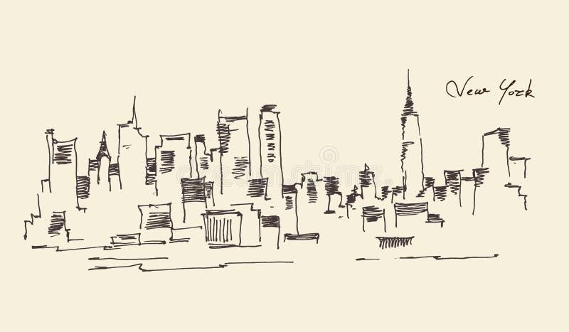 Ejemplo del grabado de New York City ilustración del vector