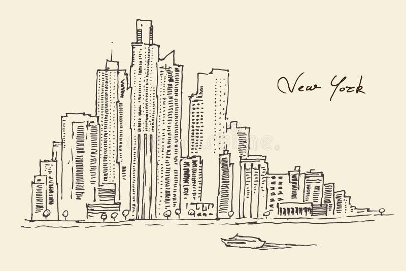 Ejemplo del grabado de New York City libre illustration