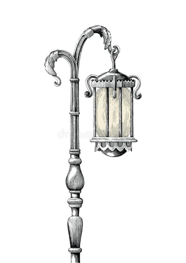 Ejemplo del grabado del dibujo de la mano de los posts de la lámpara del vintage en b blanco libre illustration
