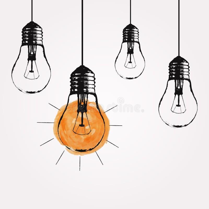 Ejemplo del grunge del vector con el colgante de bombillas ilustración del vector