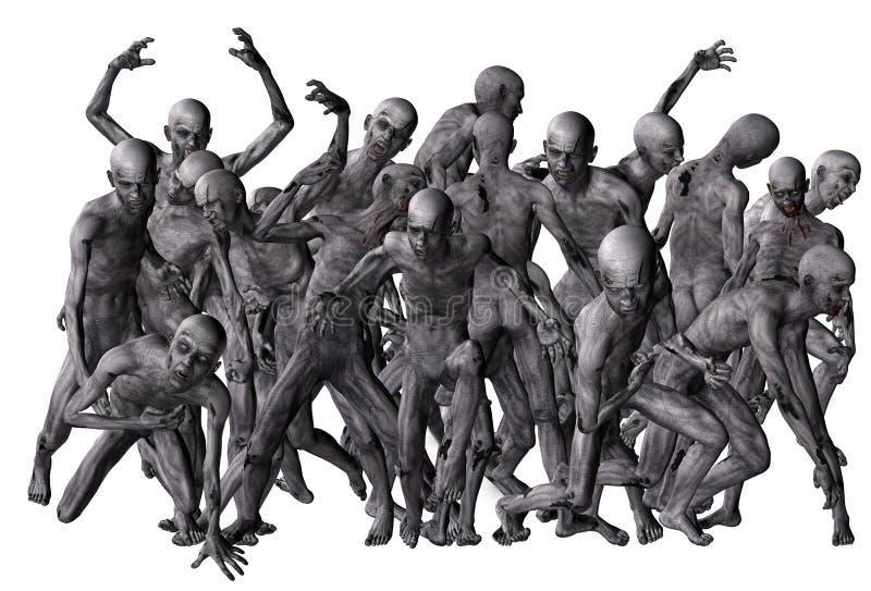 Muchedumbre de zombis ilustración del vector