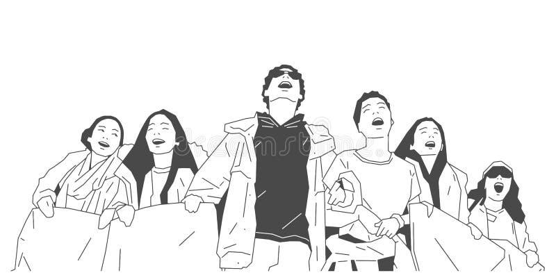 Ejemplo del grupo de estudiantes que protestan con las muestras y las banderas ilustración del vector