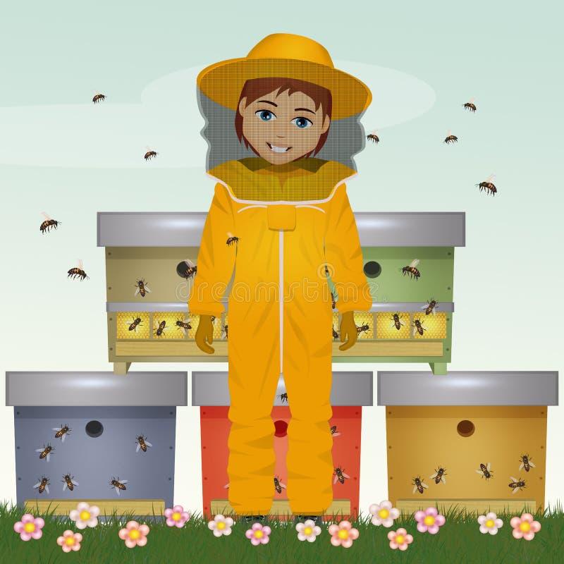 Ejemplo del hombre del apicultor libre illustration