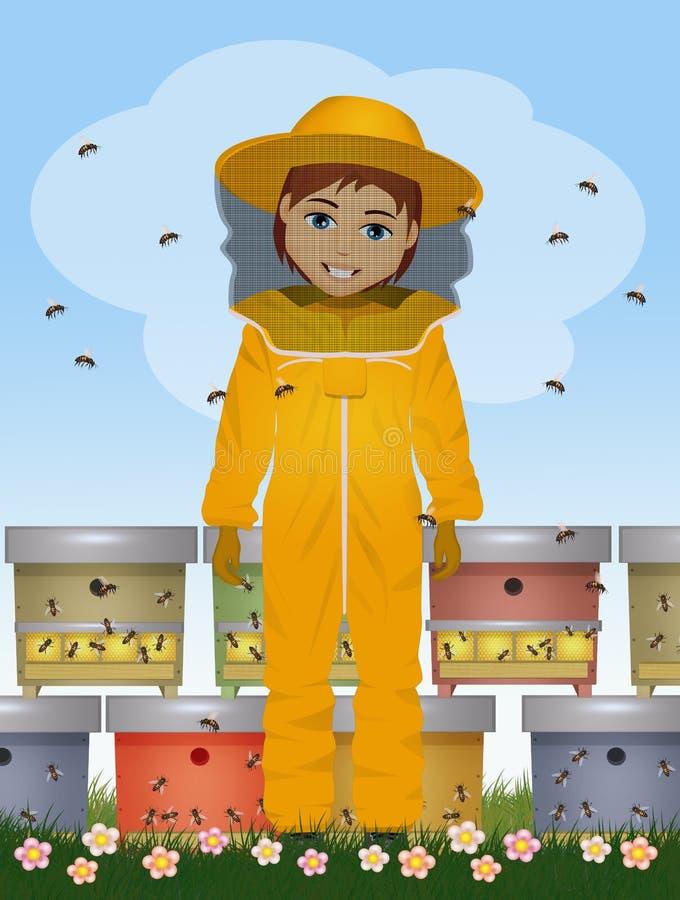 ejemplo del hombre del apicultor ilustración del vector