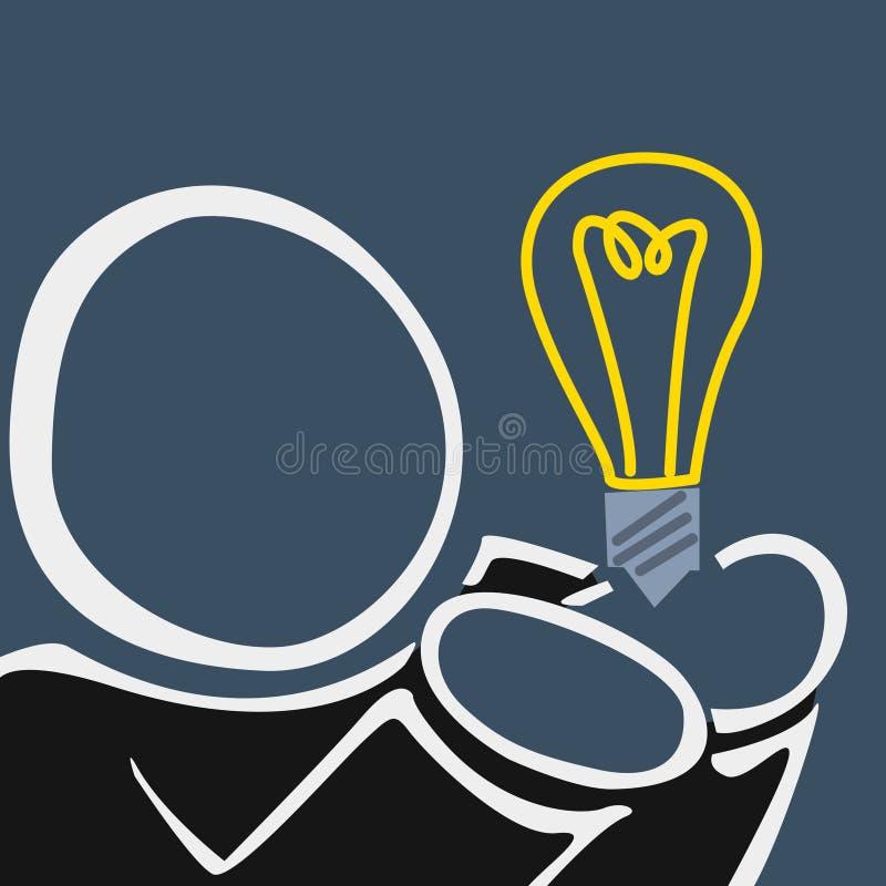 Ejemplo del hombre de la silueta que celebra la idea 2 stock de ilustración