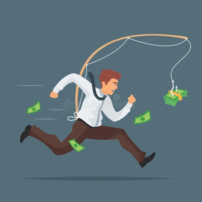 ejemplo del hombre de negocios que persigue después de dinero libre illustration