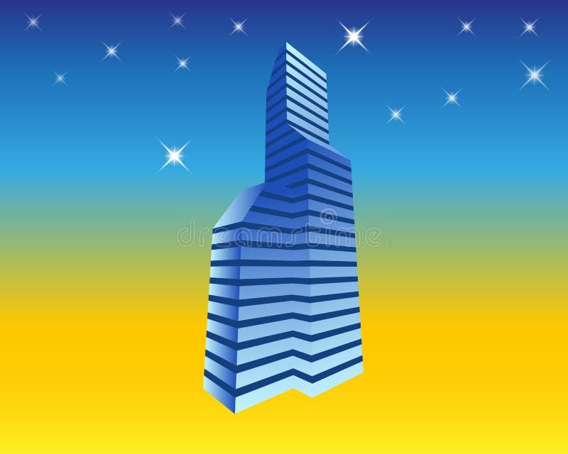 Ejemplo del horizonte urbano del rascacielos de los bloques de oficina stock de ilustración