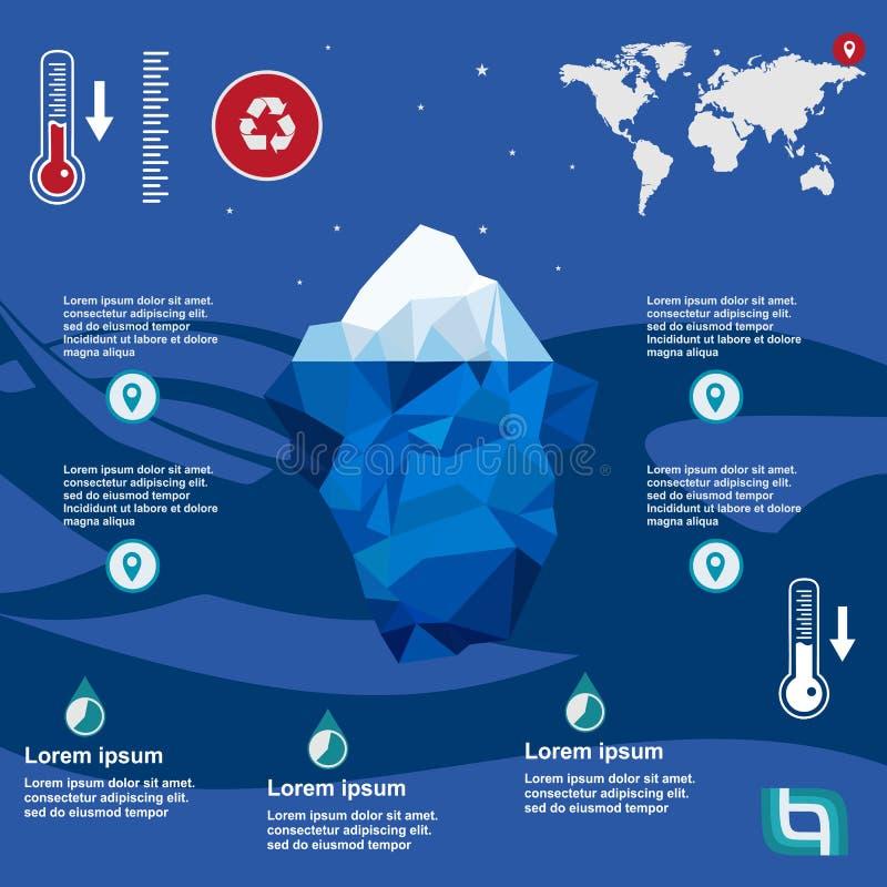 Ejemplo del iceberg en diseño plano stock de ilustración