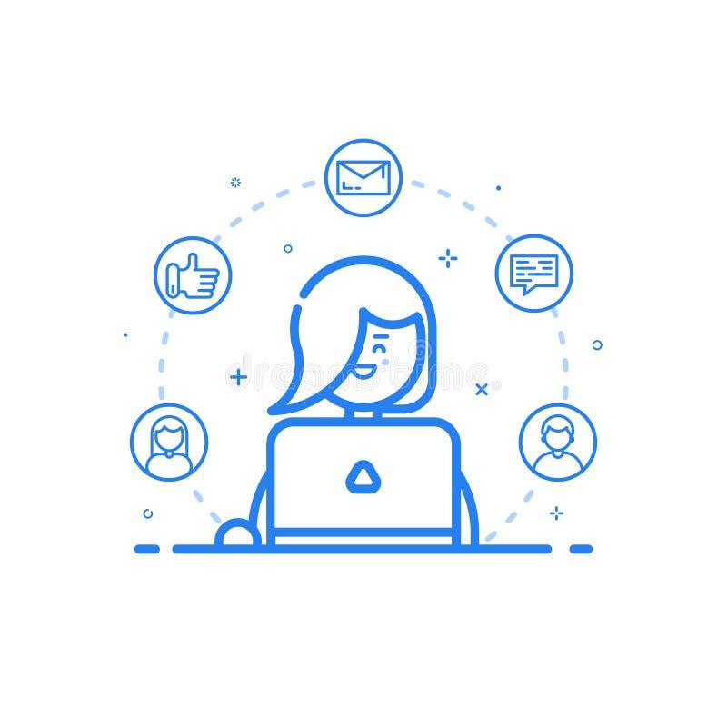 ejemplo del icono azul en la línea estilo plana Mujer linda y feliz linear con el ordenador portátil ilustración del vector