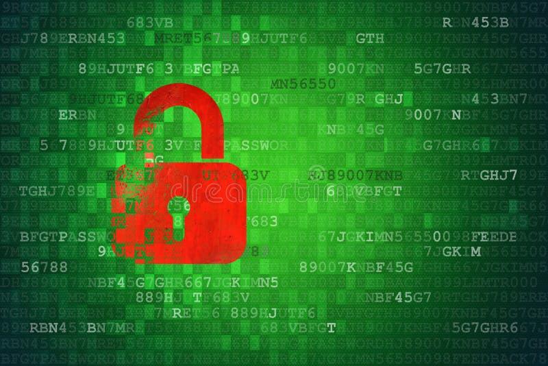 Ejemplo del icono del candado en la pantalla verde de la tecnología Concepto de la seguridad ilustración del vector