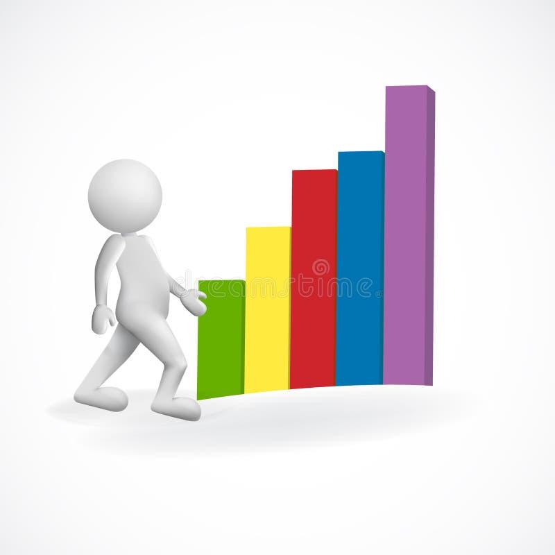 ejemplo del icono de la imagen del vector del gráfico de barra del negocio del hombre blanco 3D ilustración del vector
