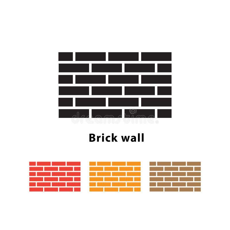 Ejemplo del icono de la pared de ladrillo en el fondo blanco con diverso sistema de color stock de ilustración