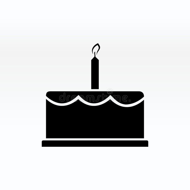 ejemplo del icono de la torta de cumpleaños Feliz cumpleaños Torta para la celebración del cumpleaños con la vela stock de ilustración