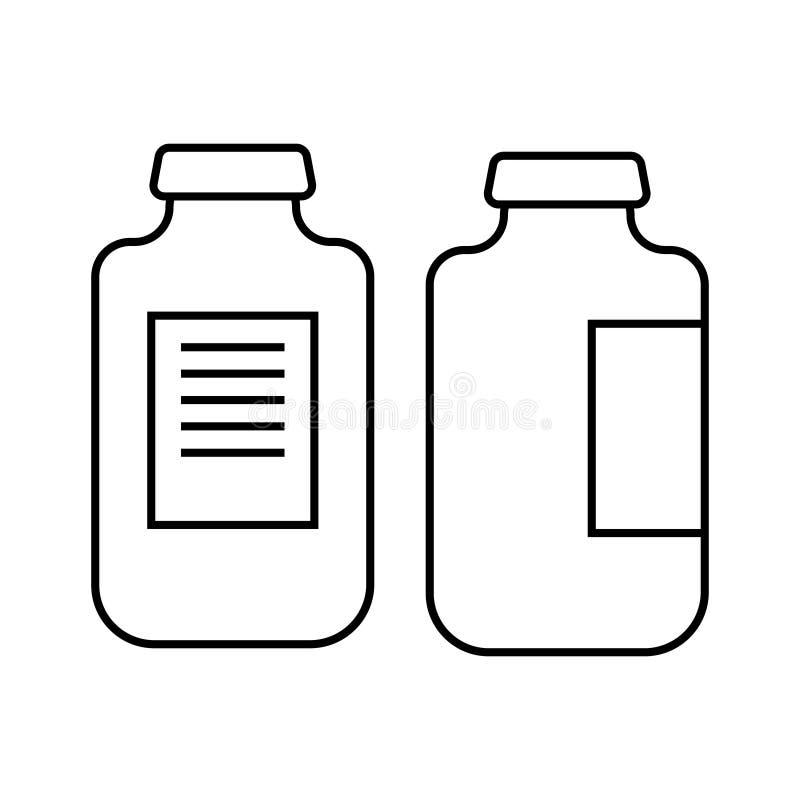 Ejemplo del icono de los frascos Vacuna contra la gripe vacunaci?n Virus, prevenci?n de la infecci?n vacuna Medicaciones, drogas  stock de ilustración