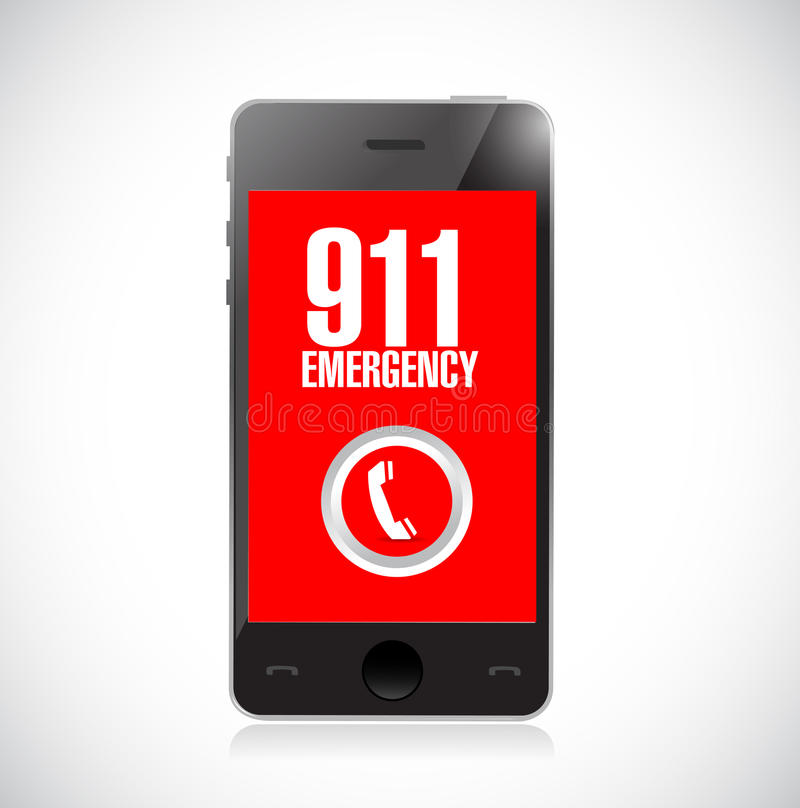ejemplo del icono del teléfono de la llamada de emergencia 911 stock de ilustración