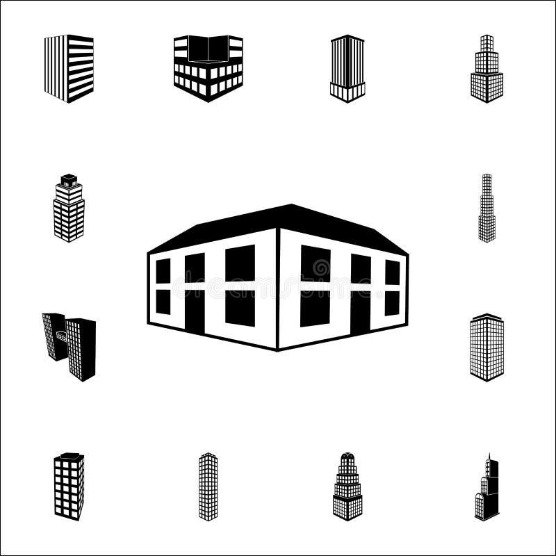 ejemplo del icono del edificio de oficinas 3d sistema universal de los iconos del edificio 3d para el web y el móvil libre illustration