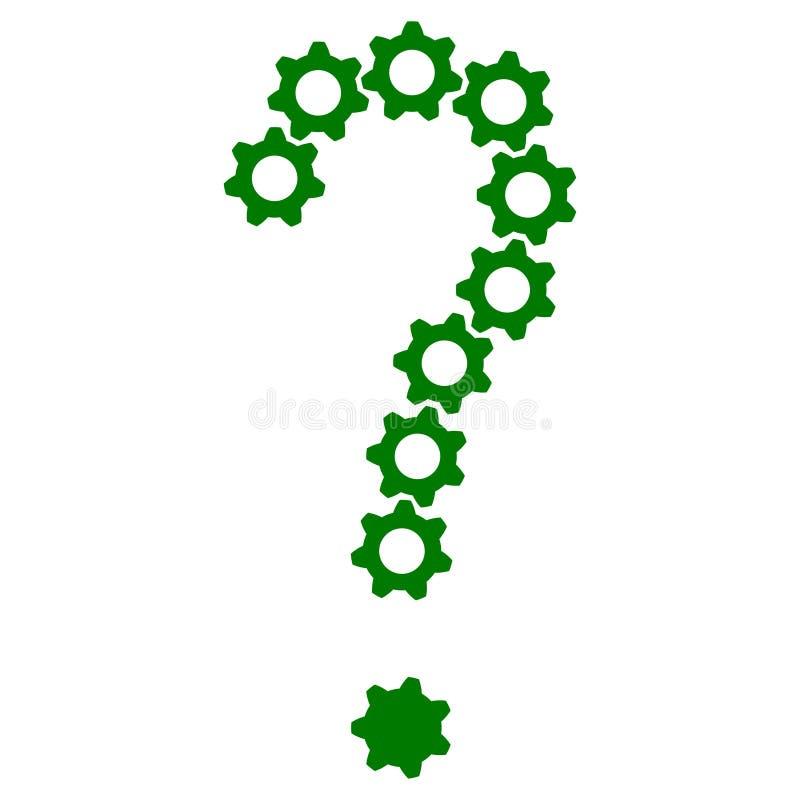 Ejemplo del icono del engranaje de la pregunta para el diseño libre illustration