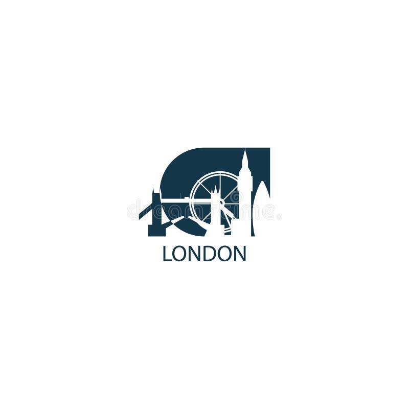 Ejemplo del icono del logotipo del vector de la forma del horizonte de la ciudad de Londres stock de ilustración