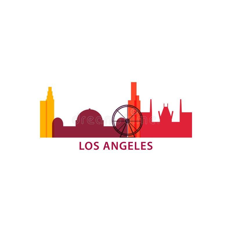 Ejemplo del icono del logotipo del vector de la forma del horizonte de la ciudad de Los Ángeles stock de ilustración