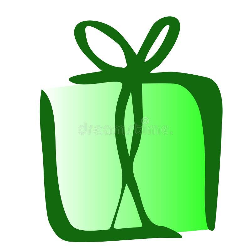 Ejemplo del icono del regalo en el fondo blanco stock de ilustración