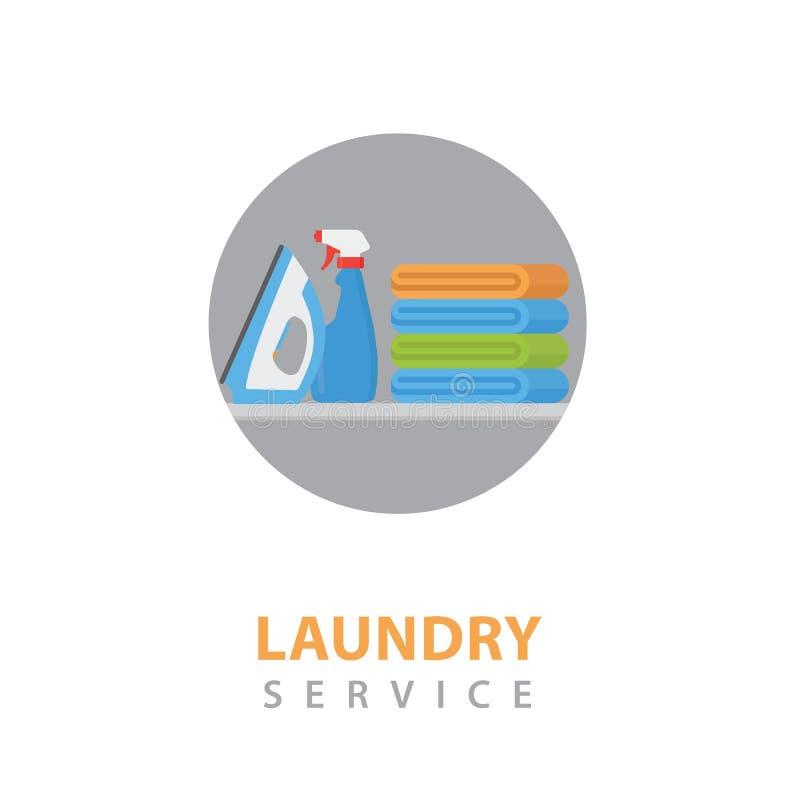 Ejemplo del icono del servicio de lavadero Pila de ropa colorida, de hierro eléctrico y de suavizador del lavadero stock de ilustración