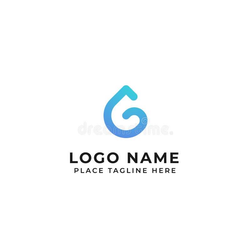 Ejemplo del icono del vector del concepto del descenso del agua del diseño del logotipo de la letra de G stock de ilustración