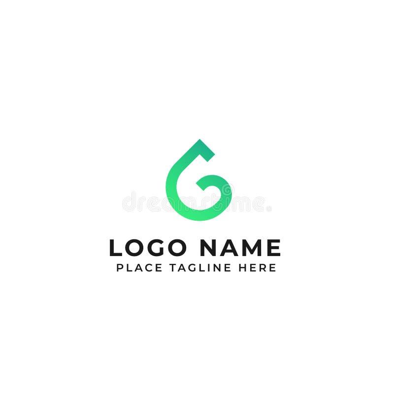 Ejemplo del icono del vector del concepto del descenso del agua del dise?o del logotipo de la letra de G libre illustration