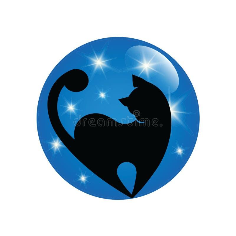 Ejemplo del icono del vector del gato negro libre illustration