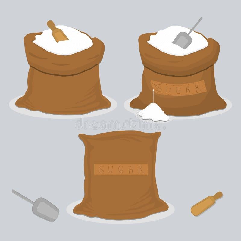 Ejemplo del icono del vector del logotipo para el azúcar de polvo cristalino dulce determinado del tema stock de ilustración