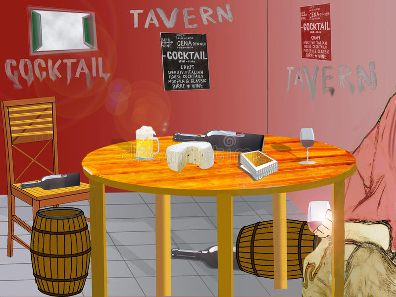 Ejemplo del interior de una taberna con una tabla del sistema y una a foto de archivo libre de regalías