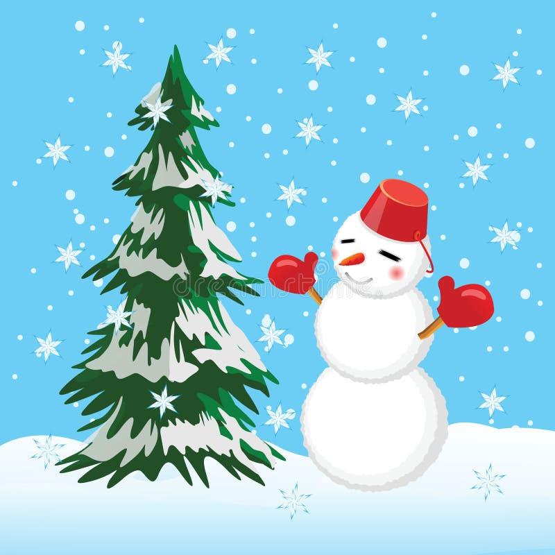 Ejemplo del invierno con el árbol y el muñeco de nieve. stock de ilustración