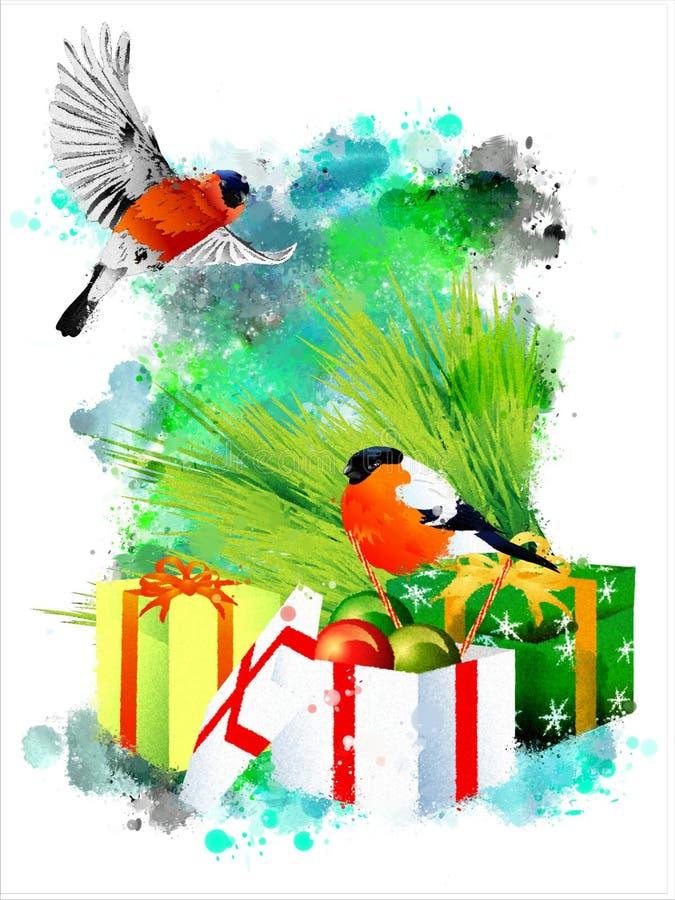 Ejemplo del invierno con los piñoneros en un fondo abstracto de la acuarela stock de ilustración