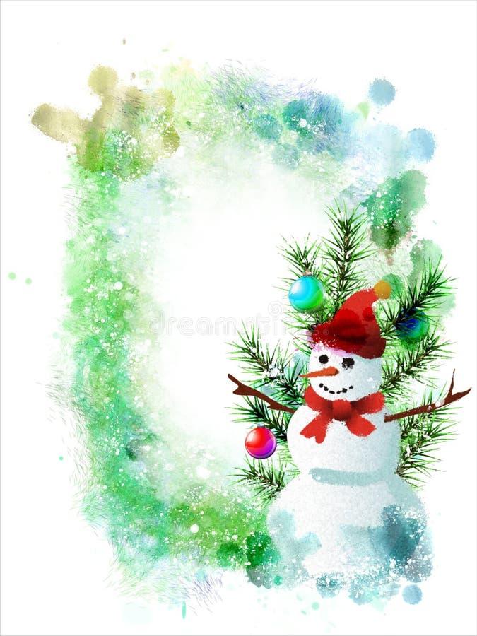 Ejemplo del invierno con los piñoneros en un fondo abstracto de la acuarela ilustración del vector