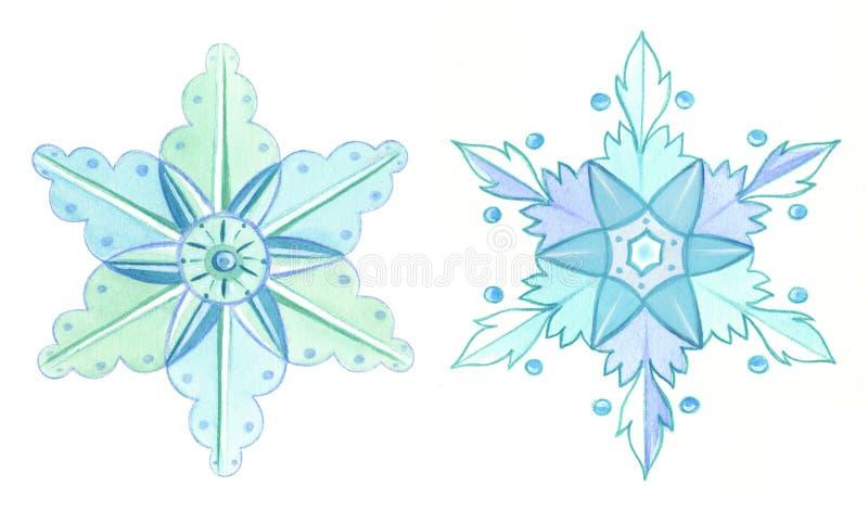 Ejemplo del invierno de la acuarela de los copos de nieve ilustración del vector