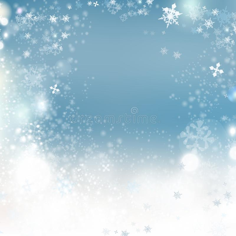 Ejemplo del invierno del vector del fondo de la Navidad con los copos de nieve crystallic Año Nuevo stock de ilustración