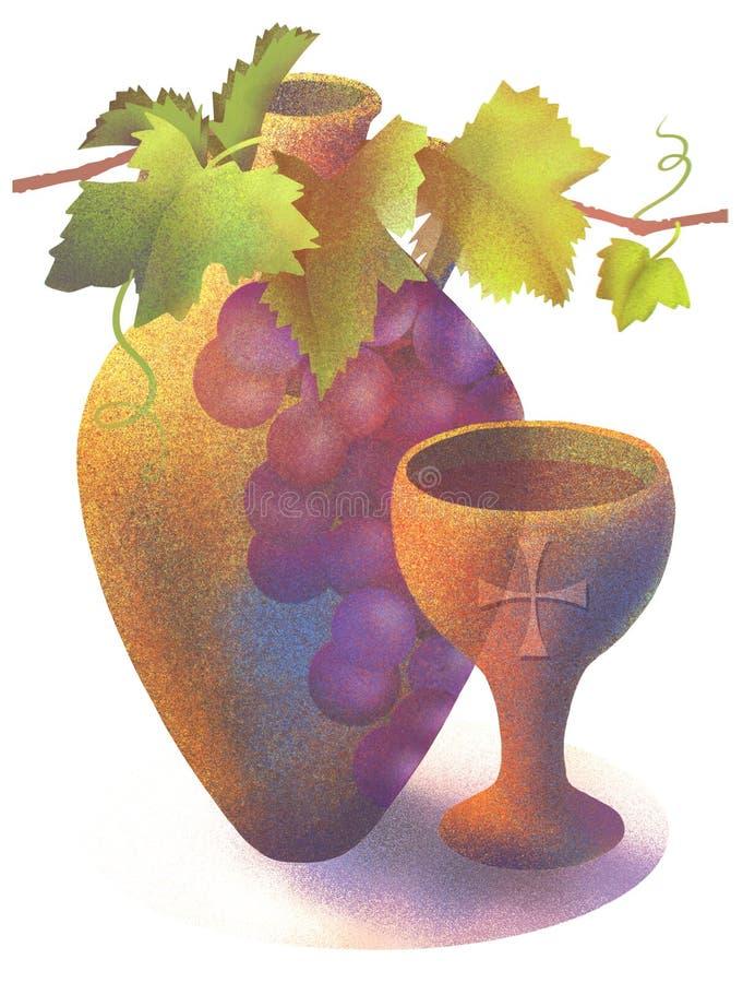 Ejemplo del jarro del vino y de la taza de la comunión libre illustration