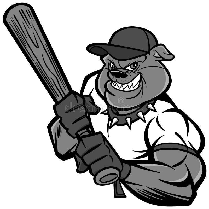 Ejemplo del jugador de béisbol del dogo stock de ilustración