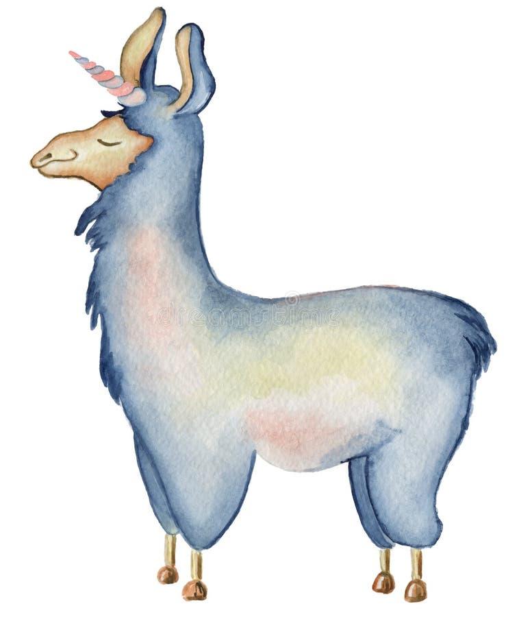 Ejemplo del lama de la Navidad con el ejemplo lindo de los niños de los animales de la acuarela del invierno del sombrero y de la libre illustration