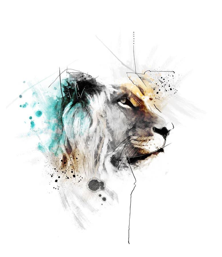 Ejemplo del león de la acuarela stock de ilustración