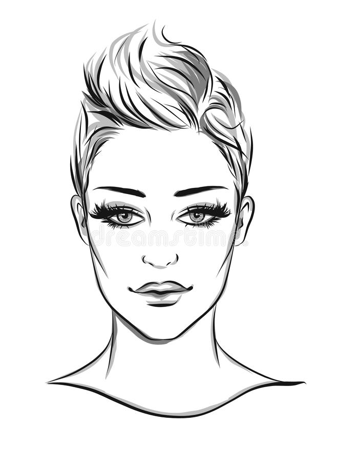 Ejemplo del lineart del retrato de la moda libre illustration