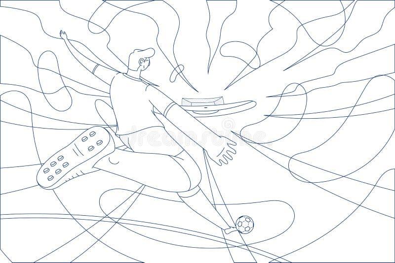 Ejemplo del lineart del jugador de fútbol stock de ilustración