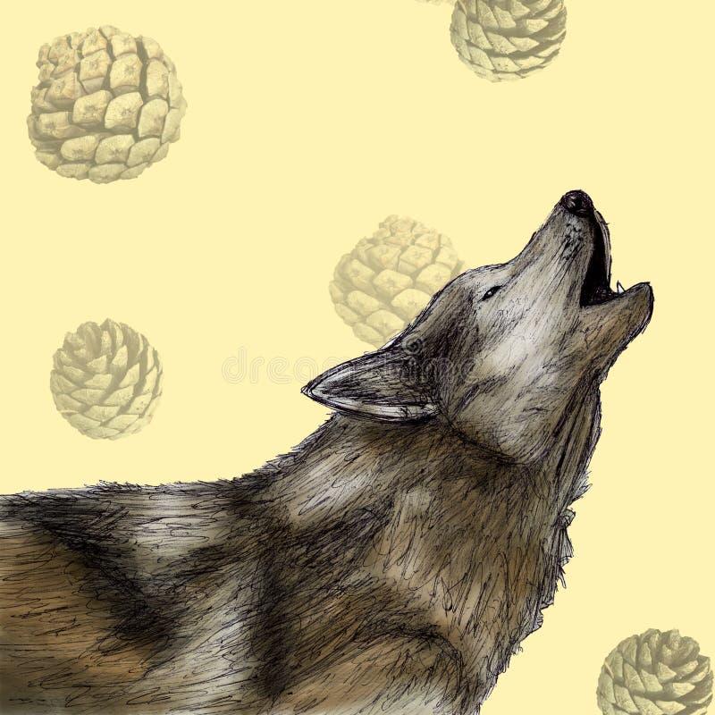 Ejemplo del lobo dibujado con la pluma y el color digital stock de ilustración